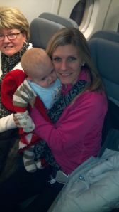 Bryce, Mommy and Grandma Sue — they finally boarded!