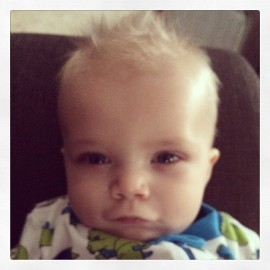 Bryce's crazy bath time hair (January 26, 2014)