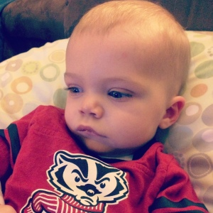 Bryce woke up just in time for the end of the Badger game this past Saturday! What a bummer that it was such a heartbreaker. Love this sweet boy so much XOXOX